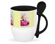 Mug with spoon, Polka dots