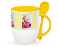 Mug with spoon, Polka dots